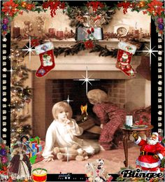 Is Santa there yet? Christmas And New Year, All Things Christmas, Christmas Tree, Vintage Christmas Images, Whimsical Christmas, Animated Christmas Pictures, Holly Hobbie, Beautiful Gif, Mood Boards