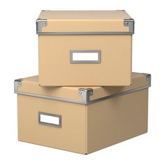 """KASSETT Box with lid - natural, 8 ¼x10 ¼x6 """" - IKEA, $4.99/2 pack, I think 2 would fit in each slot"""
