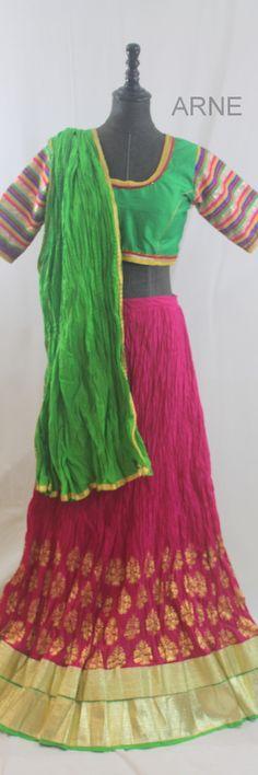 Chaniya Choli to wear in navratri - On Sale Now! Pink and Green Crush Chaniya Choli - Navratri Special  http://www.arneus.com/lehenga/navratri-special-chaniya-choli