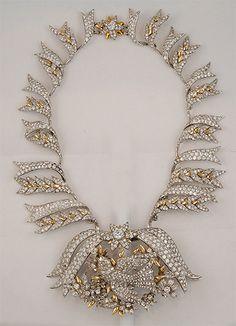 Tiffany & Co. Platinum & 18kt. Gold Schlumberger Diamond Bird Necklace.  Yafa Jewelry