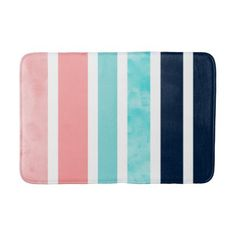 Shop Peach Turquoise Indigo White Stripes Bath Mat created by MartiGambaArt.