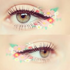 Flowery eye make up colored liquid eyeliner, cute makeup, unique makeup, makeup looks Makeup Elf, Cute Makeup, Makeup Looks, Hair Makeup, Makeup Inspo, Makeup Inspiration, Makeup Tips, Makeup Ideas, Beauty Make-up