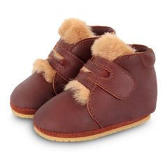 Boys Girls Babies Sheepskin Lambswool Wool Soft Booties 0 to 12 Month Beige Navy