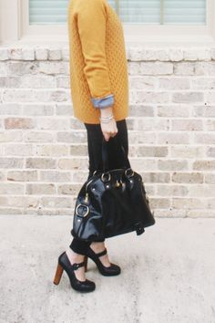 Mustard sweater, chambray shirt, black pants, heels, outfit