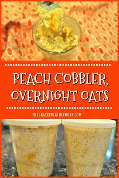 Peach Cobbler Overnight Oats / The Grateful Girl Cooks! You'll love the convenience of creamy overnight oats that taste like a peach cobbler! Make them in 5 minutes, chill overnight, and they're ready at breakfast! Lunch Box Recipes, Breakfast Recipes, Breakfast Healthy, Breakfast Ideas, Healthy Eating, Overnight Oats In A Jar, Overnight Breakfast, Quaker Oats Recipes, Oatmeal Recipes