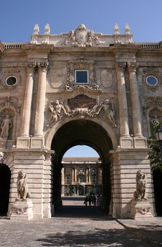 A castle gate in Budapest Hungary