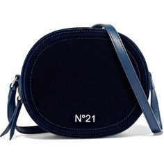No. 21 Velvet and leather shoulder bag ($540) ❤ liked on Polyvore featuring bags, handbags, shoulder bags, midnight blue, blue crossbody purse, cell phone shoulder bag, crossbody shoulder bag, crossbody cell phone purse and leather crossbody handbags