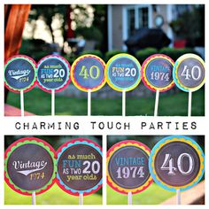 40th Birthday Cupcake Toppers by Charming by CharmingTouchParties