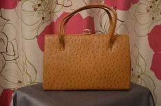 Vintage tan real ostrich skin handbag made in by ClaireLouVintage