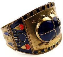 Deco 'Egyptian Revival' Antiqued Gold Lapis Blue & Carnelian Enamel Scarab Hinged Bangle Bracelet from Sharon's Sparkles on Ruby Lane  ....very cool bracelet!!