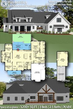 ADHousePlans Modern Farmhouse Plan 46415LA gives you 3,200  square feet of living space with 3 bedrooms and 2.5 baths. Be sure to check out our portfolio of over 30,000 house plans available for purchase! AD House Plan #46415LA #adhouseplans #architecturaldesigns #houseplans #homeplans #floorplans #homeplan #floorplan #houseplan #modernfarmhouse #houseplans #farmhouseplans #farmhousedesigns #farmhouseinspired #newhouseplans #besthouseplans