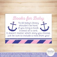 Nautical Anchor Baby Shower Book Request Cards - Nautical Baby Girl Shower - Pink Navy Stripes - Bring a Book - PRINTABLE, INSTANT DOWNLOAD by DoodleLulu on Etsy https://www.etsy.com/listing/277106572/nautical-anchor-baby-shower-book-request