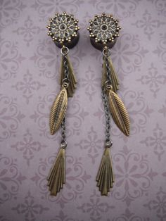 1/2 inch Feather Deco Dangle Plugs on Etsy, $42.00