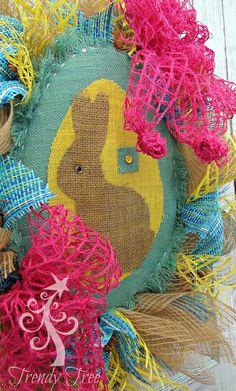 DIY Burlap Easter Wreath - Trendy Tree Blog - written and video tutorial, supplies at Trendy Tree