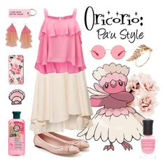 """""""Oricorio: Pa'u"""" by grandduchessalaina ❤ liked on Polyvore featuring Salvatore Ferragamo, Forever 21, Miguelina, Valley Cruise Press, Kate Spade, Ray-Ban, Miss Selfridge, Humble Chic, Jacquie Aiche and Deborah Lippmann"""