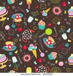 Sweets seamless background - stock vector