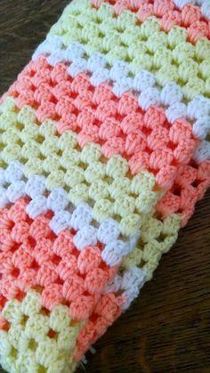 Items similar to Vintage crochet knit baby blanket peach orange yellow white on Etsy Vintage crochet knit baby blanket peach orange by PearTwigVintage Quick Crochet Blanket, Crochet Baby Shawl, Crochet Baby Blanket Free Pattern, Crochet Stitches Patterns, Baby Knitting Patterns, Crochet Yarn, Knitted Baby Blankets, Receiving Blankets, Vintage Crochet