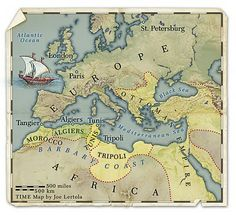 The Barbary pirates carried out aids even far from Africa -- as far away as Iceland. These Barbary coast pirates holed up in Algiers, Tunis and Tripoli. Barbary Wars, Barbary Coast, Pirate History, Map Globe, United States Map, Historical Maps, Bape, American History, Pirates