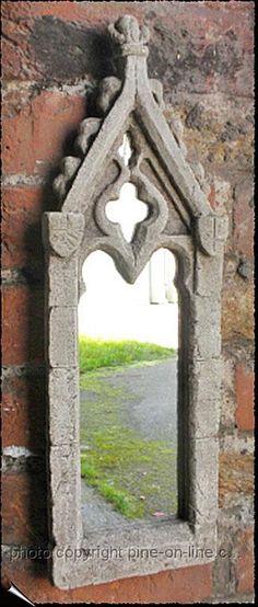 Gothic Stone Effect Medium Ornate Window Mirror