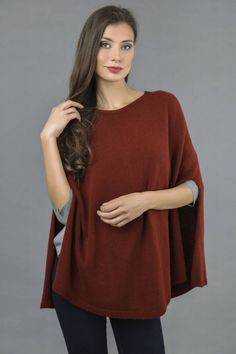 Pure Cashmere Plain Knitted Poncho Cape in Bordeaux front 1 Cashmere Poncho, Knitted Poncho, Cashmere Wool, Slouchy Beanie, One Size Fits All, Bordeaux, Cape, Tunic Tops, Classy