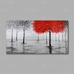 Hand-Painted Oil Painting on Canvas Wall Art Abstract Contempory Trees Forest Grey One Panel Ready to Hang 2016 - $39.99