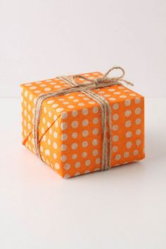 Orange polka dot wrapping paper #gift #packaging #presents