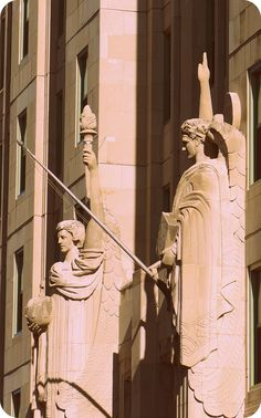 Mundelein College's angels, Uriel and Jophiel. Photo by Steve Browne and John Verkleir/Proxy Indian/Flickr.