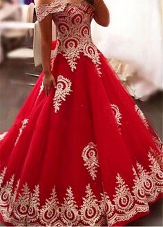 Beautiful Prom Dress, new arrival prom dress modest prom dress gold lace appliques prom dress red evening gowns elegant bride dress prom dress 2018 wedding dress 2018 Meet Dresses Princess Prom Dresses, A Line Prom Dresses, Quinceanera Dresses, Modest Dresses, Pretty Dresses, Dress Prom, Woman Dresses, Formal Dress, Quinceanera Party