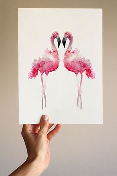 Flamingos Watercolor Painting Animal Pink Home by ColorWatercolor