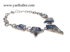 One of a kind and handmade by me!  Necklace, silver and large pottery shards from Jerusalem.  #design jewelry