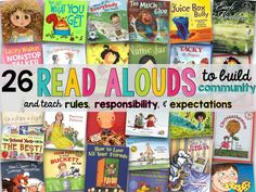 list of books and read alouds perfect for back to school that help build and foster a classroom community, and help teach rules, procedures, responsibility, and expectations. 1st Day Of School, Beginning Of The School Year, Back To School, School Stuff, School Week, Middle School, High School, Help Teaching, Teaching Reading