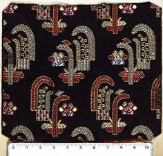 1885 - 1890 Francia St. Etienne Border Embroidery Designs, Hand Work Embroidery, Embroidery Motifs, Ikat Pattern, Pattern Art, Pattern Design, Jaali Design, Ikat Print, Japanese Prints