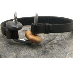 """FREE SHIPPING Men's leather bracelet .Black leather cuff men's bracelet with beach stone and metal work """"U"""" clasp"""