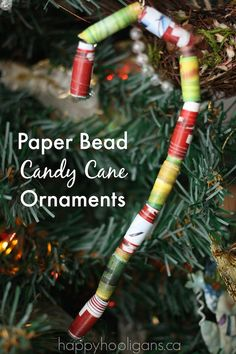 Paper Bead Candy Cane Ornaments - Happy Hooligans
