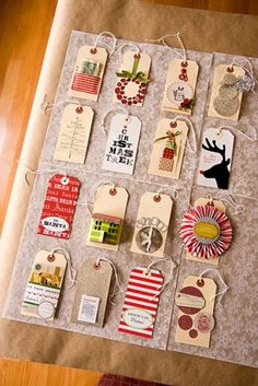 Make last years Christmas cards into this years gift tags