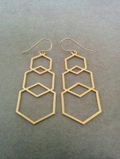 Hexagon Earrings, Geometric Earrings, Geometric #jewelry #earrings @EtsyMktgTool http://etsy.me/2zOO6CE #hexagonearrings #geometricearrings