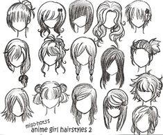 Doll hairstyle ideas. Felt Fabric Needle felted Doll Hair  Drawings: anime girl hairstyles