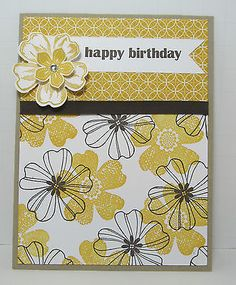Stampin' Up! HAPPY BIRTHDAY CARD KIT, Flower Shop Crushed Curry - Set of 4 Cards