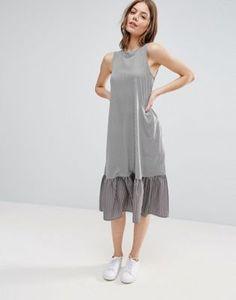 ASOS Midi Dress in Stripe with Contrast Woven Frill Hem