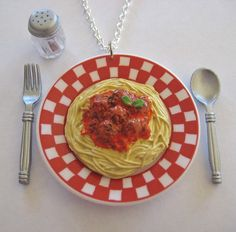 Spaghetti and Meatballs Necklace  Mini Food Jewelry by Artwonders, $11.00