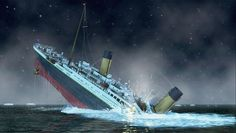 one half of the titanic sinking