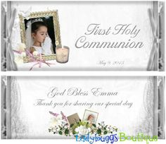 Beautiful favor for First Communion.  Personalized, photo party favor candy bar wrapper by Ladybuggs Boutique $14 per dozen