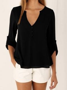 Shop Black V-neck Button Detail Dip Back Blouse from choies.com .Free shipping Worldwide.$12.99
