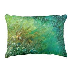 Dark Sun - Green Blue Brown Bubbles Abstract Outdoor Pillow - personalize custom customizable