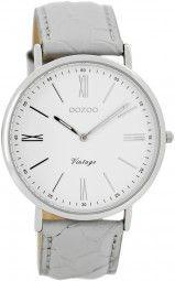 Oozoo Ultra Slim Vintage Uhr C7707 - grau/weiss - 40 mm - Lederband