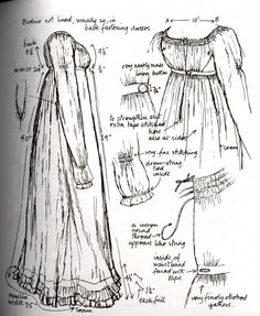 From Nancy Bradford's Costume in Detail. 1806-9 white muslin day dress.