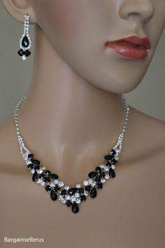 Black Crystal Rhinestone Bridesmaid Bridal Formal Prom Jewelry Necklace Set