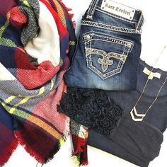 "Don't be caught in the cold without a plaid blanket scarf $24 ❄️ featured with lace cuff longsleeve $58, Rock Revival ""nikola"" skinny $159 