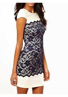 Lace color block dress