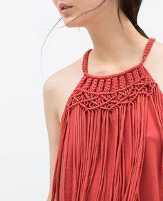 Collar Macrame, Macrame Purse, Macrame Dress, Macrame Necklace, Macrame Jewelry, Macrame Design, Macrame Patterns, T Shirt Yarn, Crochet Fashion